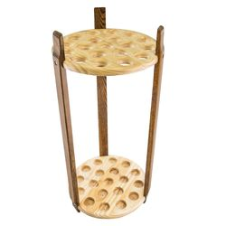 Espresso Stained Ash and Pine Round Cane Stand