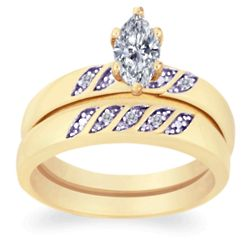 Diamond and Marquise CZ Wedding Ring Set
