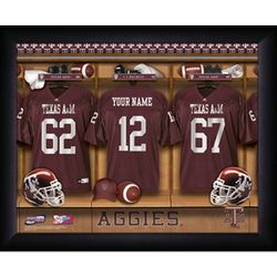 Personalized Texas A&M College Football Locker Room Print