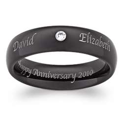 Outside/Inside Engraved Black Tungsten Ring with Cubic Zirconia