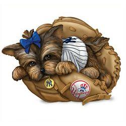 New York Yankees Yorkie Dog Figurine