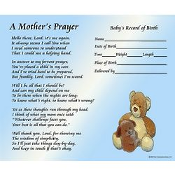 A Mother's Prayer with Baby Boy's Birth Information Print