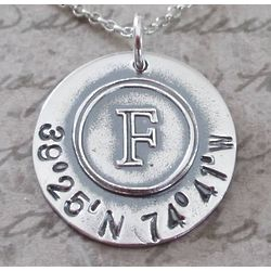 Longitude and Latitude Initial Personalized Necklace