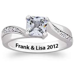 Princess-Cut Cubic Zirconia & Diamond Sterling Engraved Ring