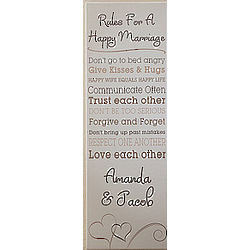 Personalized Rules for A Happy Marriage Canvas Art