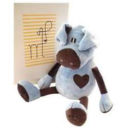 Blue and Chocolate Pig Stuffed Animal