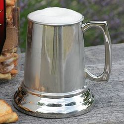 Engravable Pewter Beer Mug with Glass Bottom