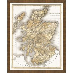Old Map of Scotland Framed Print