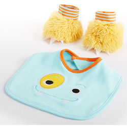 Blue Monster Bib and Booties Gift Set