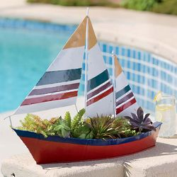 Handmade Sailboat Garden Planter