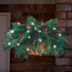 Cordless Hanging Holiday Pinecone and Berry Basket