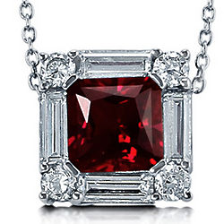 Princess Cut Ruby CZ Sterling Silver Solitaire Pendant Necklace