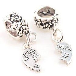 Big Sis Lil Sis Break Apart Dangle Charm Beads