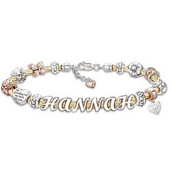 Granddaughter Cable Bracelet with Letter Beads Name