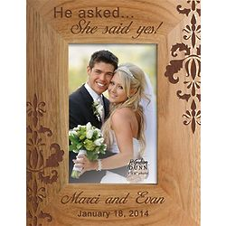 He Asked She Said Yes Personalized Wood Picture Frame Findgiftcom