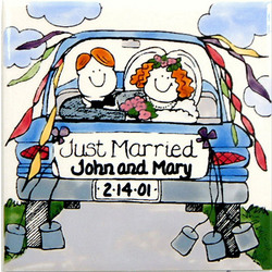 Personalized Ceramic Just Married Tile