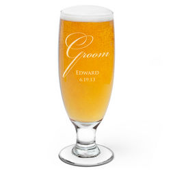 Groom Personalized Beer Glass