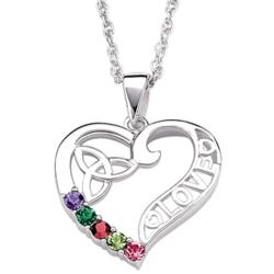 Sterling Silver Celtic Heart Mother's Birthstone Pendant