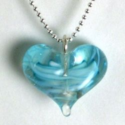 Handcrafted Petite Aquamarine Glass Heart Pendant