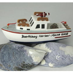 Personalized Maine Lobster Boat Ornament