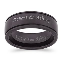 Outside/Inside Engraved Black Tungsten Spinner Band