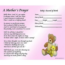 A Mother's Prayer with Baby Girl's Birth Information Print