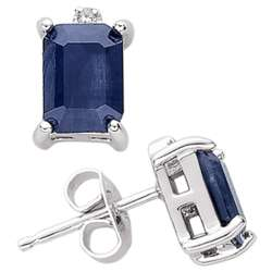 Emerald-Cut Sapphire & Diamond Accent Earrings