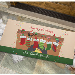 Personalized Stocking Family Large Christmas Doormat