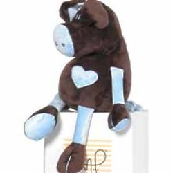 Chocolate and Blue Heart Pig Stuffed Animal