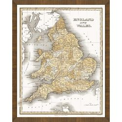 Old Map of England Framed Print