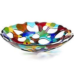 Multi-Color Erosion Glass Bowl
