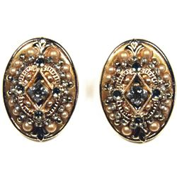 Gold Mosaic Oval Earrings