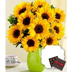 Deluxe Birthday Sunflower Radiance Boquet and Chocolates
