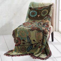 Owl and Flowers Woven Throw
