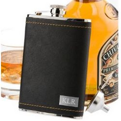 Personalized Stitched Leather Flask