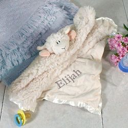 Baby's Personalized Cuddle Bud Lamb Blanket
