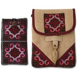 Ethnic Rose Hemp Purse and Phone Pouch