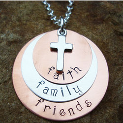 Faith, Family, Friends Hand Stamped Necklace