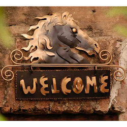 Golden Horse Iron Welcome Sign