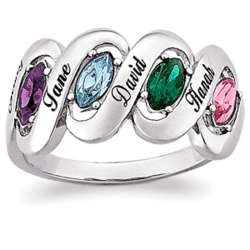 Sterling Silver Mother's Name & Marquise Birthstone Ribbon Ring