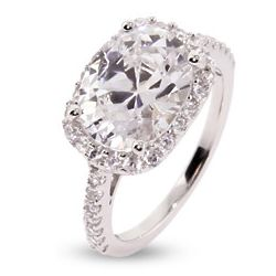 Oval Cut Pave CZ Right Hand Ring