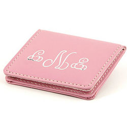 Personalized Pink Leather Compact