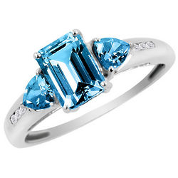 Blue Topaz Ring with Diamonds in 10K White Gold