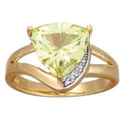 Trillion-Cut Faux Peridot and Diamond Ring
