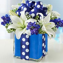 All Wrapped Up Blue Floral Arrangement