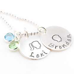 2 Head Silhouttes Mother's Personalized Necklace