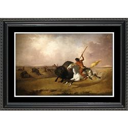 Buffalo Hunt on Southwestern Prairie Framed Print