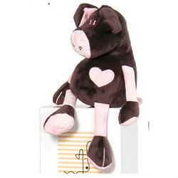 Chocolate and Pink Heart Pig Stuffed Animal