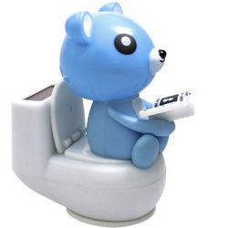 Solar Power Motion Bear on Toilet Toy
