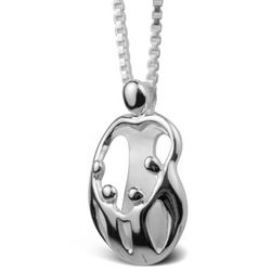 Loving Family Mom and 4 Children Heart Pendant